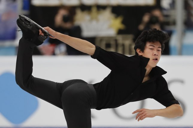 Nathan Chen of the United States performs during the men's short program at the Grand Prix Rostelecom Cup in Moscow on Friday. Photo by Yuri Kochetkov/EPA-EFE