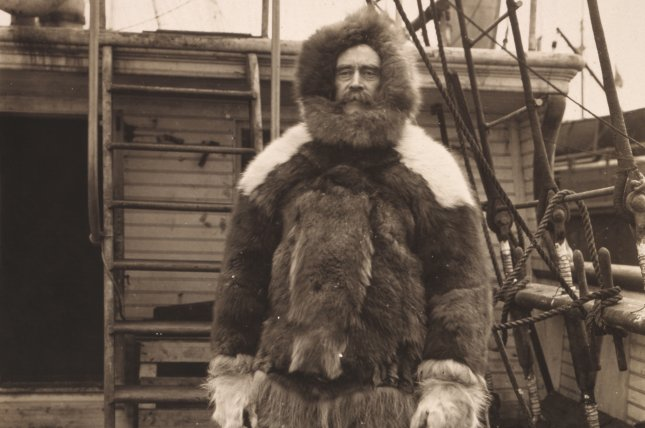 Robert Edwin Peary, wearing fur clothing, stands on the main deck of the steamship Roosevelt, during his expedition to the North Pole in 1909. Photo courtesy of Library of Congress