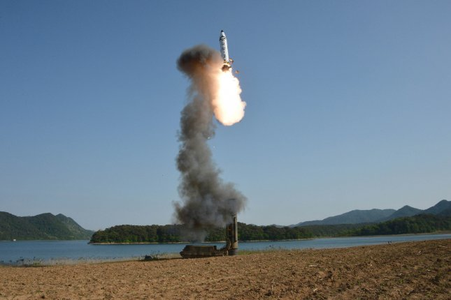 South Korea says it is working with the United States on monitoring, following a recent press report on North Korea's production of equipment related to the Pukguksong-2, tested in May 2017. File Photo by KCNA/EPA