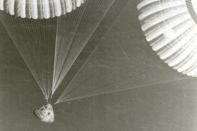 The Apollo 17 spacecraft, containing astronauts Eugene A. Cernan, Ronald E. Evans, and Harrison H. Schmitt, glided to a safe splashdown at 2:25 p.m. EST on Dec. 19, 1972. File Photo by NASA/UPI