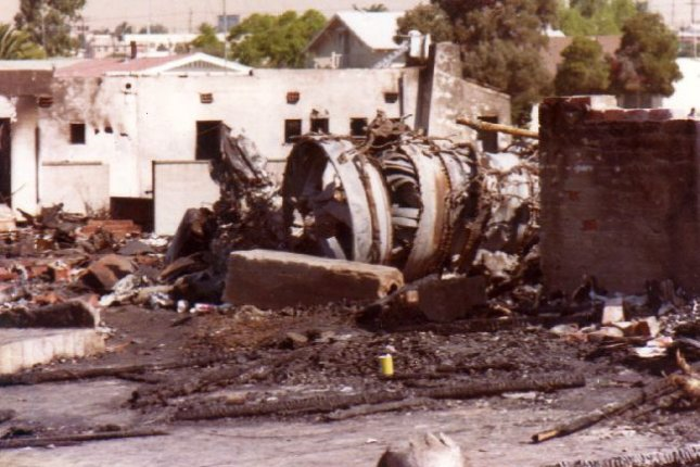 Pacific Southwest Airlines Flight 182 crashed in San Diego, Calif., on September 25, 1978, killing 144 people, including seven people on the ground. File Photo courtesy the San Diego Air and Space Museum Archive/Flickr