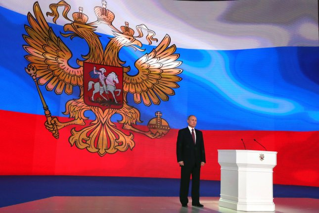 Russian President Vladimir Putin delivers his annual address Thursday to the Federal Assembly at the Manezh Central Exhibition Hall in Moscow, Russia. Photo by Michael Klimentyev/Sputnik/Kremlin pool/EPA-EFE
