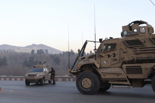 Afghan and NATO security forces arrive at the scene of an armed attack in the Intercontinental Hotel in Kabul, Afghanistan, on January 21, 2018. File Photo by Jawad Jalali/EPA-EFE