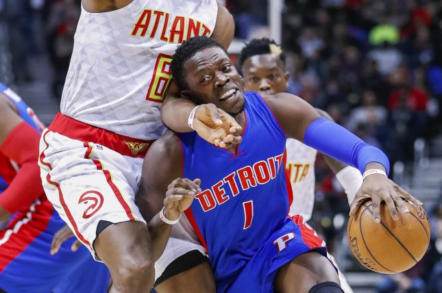 Former Detroit Pistons guard Reggie Jackson (1) was completing the final season of a five-year, $80 million deal with the Pistons. File Photo by Erik S. Lesser/EPA