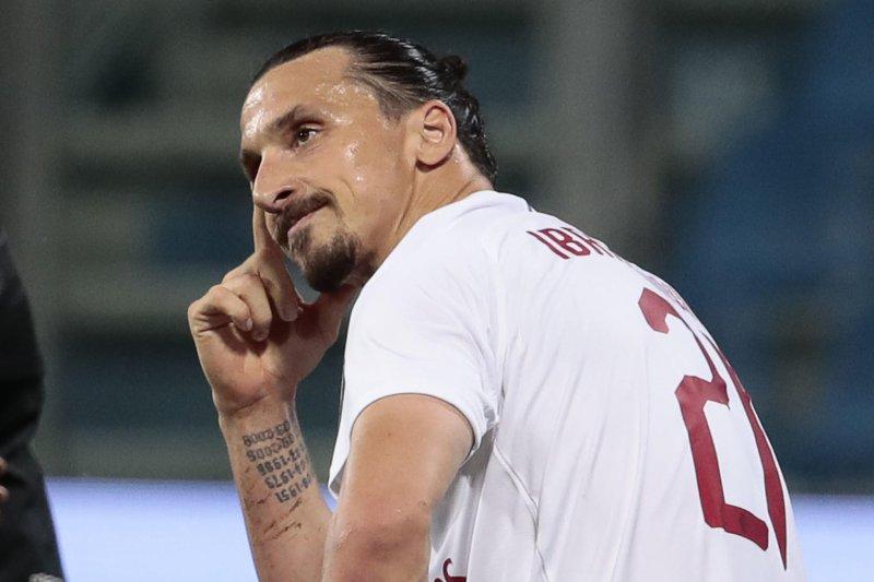 AC Milan's Zlatan Ibrahimovic scored twice against Sassuolo on Tuesday at Mapei Stadium in Reggio Emilia, Italy. Photo by Elisabetta Baracchi/EPA-EFE