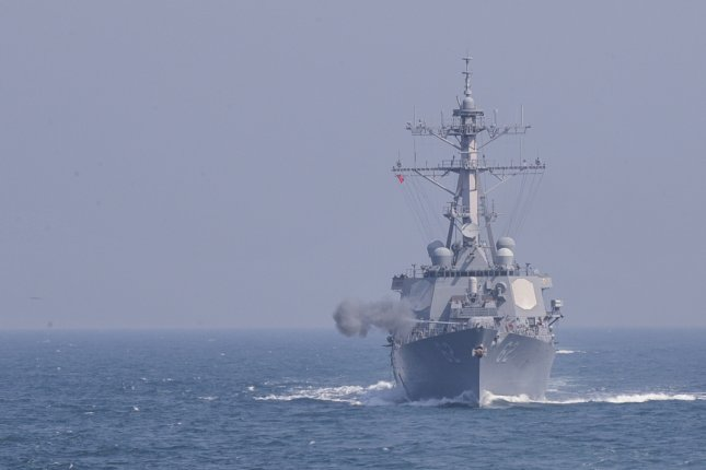 The missile-guided destroyer USS Fitzgerald engages in a live-fire drill in waters off South Korea's western coast on March 25. The two countries, along with Japan, are planning a naval drill in June to track potential North Korea missiles. Photo courtesy of the South Korean Navy/Yonhap