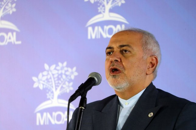 Iran's military condemned the United States for putting sanctions on Foreign Minister Mohammad Javad Zarif. File Photo by Miguel Gutierrez/EPA-EFE