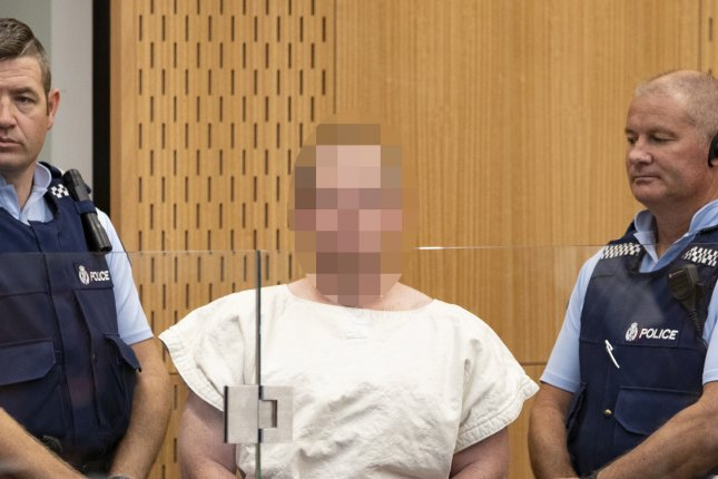 Brenton Tarrant made his first court appearance Saturday in New Zealand. Police accused the 28-year-old of killing 49 people at two mosques as part of a terror attack motivated by extremism. Photo by Martin Hunter/EPA-EFE