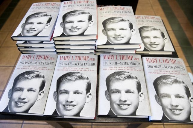 Copies of a family memoir by Mary Trump are seen in an Alexandria, Virginia, bookstore on July 14. Trump on Thursday sued her uncle, President Donald Trump, and his siblings for allegedly cheating her out her inheritance. File photo by Michael Reynolds/EPA-EFE
