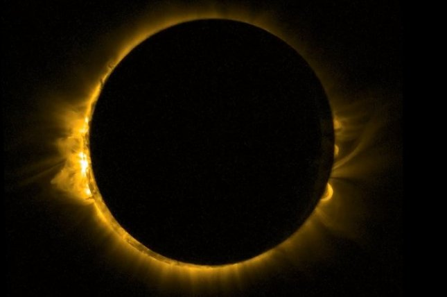 As Europe enjoyed a partial solar eclipse on the morning of March 20, 2015, ESA's sun-watching Proba-2 satellite had a ringside seat from orbit. Proba-2 used its SWAP imager to capture the moon passing in front of the sun in a near-totality. SWAP views the solar disc at extreme ultraviolet wavelengths to capture the turbulent surface of the Sun and its swirling corona.
