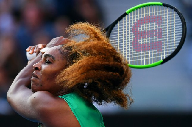 Serena Williams of the USA in action against Simona Halep of Romania during their women's singles fourth round match at the Australian Open Grand Slam tennis tournament on Monday in Melbourne, Australia. Photo by Lukas Coch/EPA-EFE
