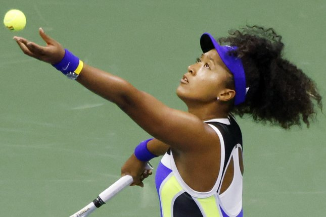 Naomi Osaka (pictured) beat Misaki Doi in three sets to advance to the second round of the 2020 U.S. Open on Monday at the USTA Billie Jean King National Tennis Center in Queens, N.Y. Photo by Jason Szenes/EPA-EFE