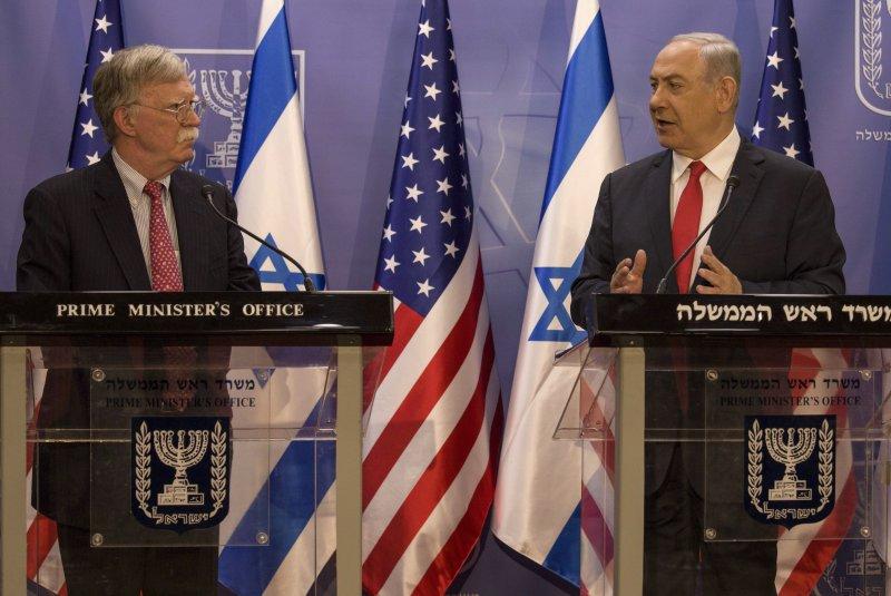 U.S. national security adviser John Boltonepa (left) and Israeli Prime Minister Benjamin Netanyahu appear at a joint conference Sunday in in Jerusalem. Photo by Tsafrir Abayov/pool/EPA