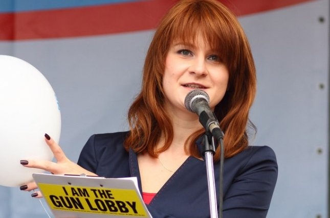 Maria Butina attends a rally to demand expansion of citizens' rights to bear weapons in Russia. File Photo courtesy of Press Service of Civic Chamber of the Russian Federation/EPA-EFE
