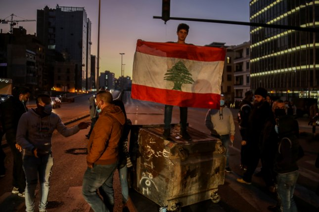 Anti-government protesters block some roads in downtown Beirut, Lebanon on Monday. Photo by Nabil Mounzer/EPA-EFE