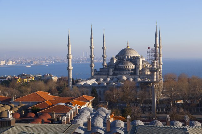 At least 10 people died Tuesday in an explosion the popular tourist district of Sultanahmet park near the blue mosque, pictured, in Istanbul, Turkey. File photo by ben bryant/Shutterstock