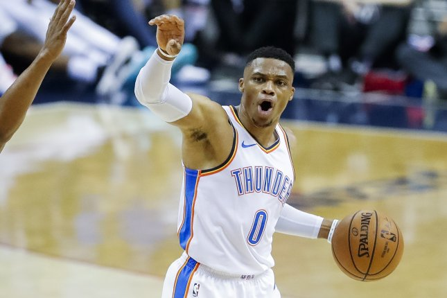 Russell Westbrook and the Oklahoma City Thunder face the Phoenix Suns on Friday. Photo by Erik S. Lesser/EPA-EFE