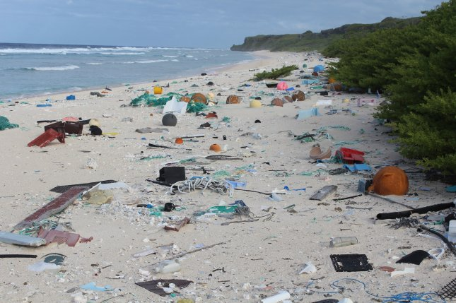 Garbage litters Henderson Island in the South Pacific, which scientists say has the world's highest density of waste plastic -- with more than 3,500 additional pieces of litter washing ashore daily. Photo by Jennifer Lavers/IMAS/EPA