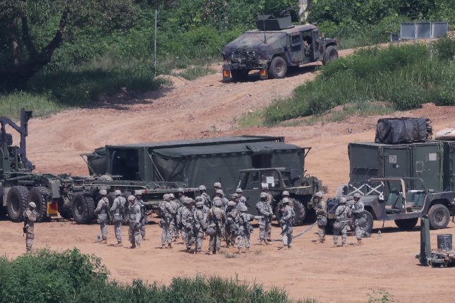 American soldiers and vehicles prepare to participate in a military exercise near the inter-Korean border in Paju, north of Seoul. Photo by Yonhap News Service/UPI
