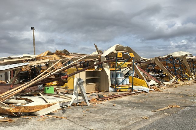 A civil engineering building at Tyndall Air Force Base, Fla., was destroyed in 2018 by Hurricane Michael. Rebuilding efforts at the base were halted on Wednesday because of a lack of funding. Photo courtesy of U.S. Air Force