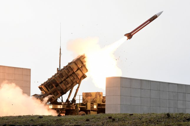 A Patriot missile is fired at a shooting range in Daecheon, South Chungcheong Province, South Korea, in November 2017.  Lockheed Martin this week was awarded a $114 million deal to deliver Patriot missiles to United Arab Emirates. File Photo by Yonhap/EPA-EFE