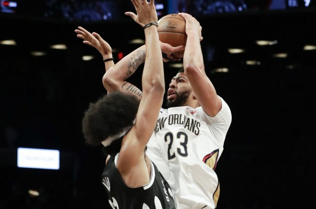 New Orleans Pelicans forward Anthony Davis (23) will be traded to the Los Angeles Lakers on July 6 as part of a three-team trade. File Photo by Jason Szenes/EPA-EFE