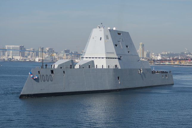 The guided-missile destroyer USS Zumwalt arrives at its new homeport in San Diego. Zumwalt, the Navy's most technologically advanced surface ship, will now begin installation of combat systems, testing and evaluation and operation integration with the fleet. Photo by Petty Officer 3rd Class Emiline L. M. Senn/U.S. Navy
