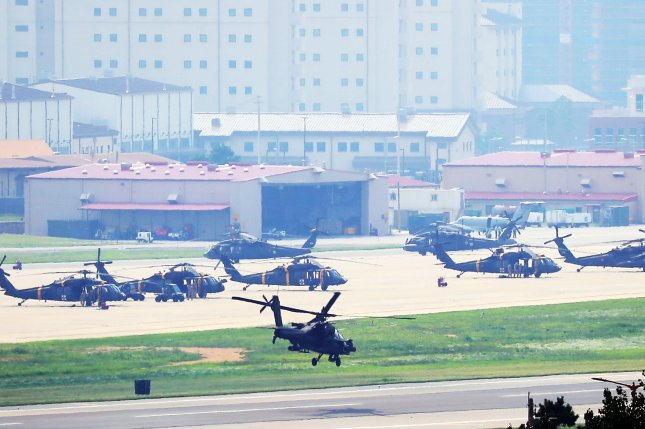 An Apache chopper takes off at U.S. base Camp Humphreys in Pyeongtaek, south of Seoul, on August 5, 2019 as South Korea and the United States kicked off their joint military exercise. Photo by Yonhap News Agency