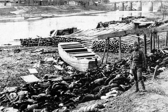 On December 13, 1937, the Nanking Massacre began, during which Japanese troops killed between 40,000 and 300,000 Chinese civilians and soldiers. File Photo by Moriyasu Murase/Wikimedia