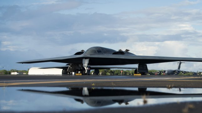 A B-2 Spirit deployed from Whiteman Air Force Base, Mo., to Joint Base Pearl Harbor-Hickam, Hawaii, is parked on the flightline on Sept. 26, 2018. Photo by Staff Sgt. Danielle Quilla/U.S. Air Force