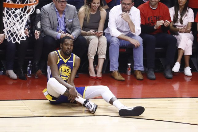 Former Golden State Warriors forward Kevin Durant signed with the Brooklyn Nets before the start of this season. He hasn't played since tearing his Achilles tendon during Game 5 of the 2019 NBA Finals. File Photo by Larry W. Smith/EPA-EFE