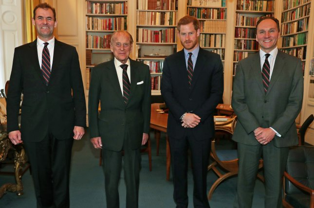Prince Harry (second from right), pictured with Major General Robert Magowan, Prince Philip and Major General Charles Stickland (L-R), was appointed Captain General Royal Marines on Tuesday. File Photo by British Ministry of Defense/EPA-EFE