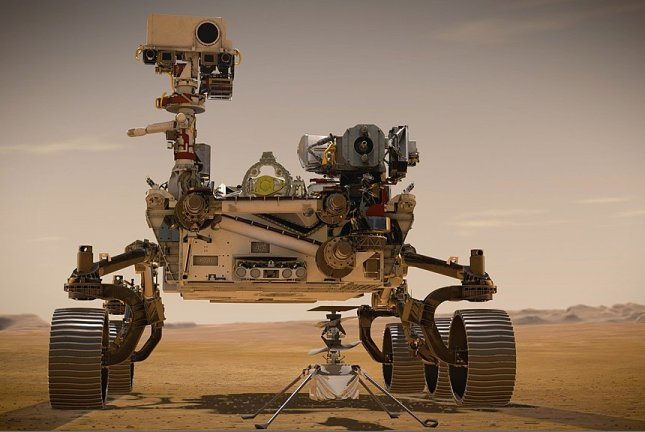 The NASA Mars rover Perseverance has the most sophisticated technology ever sent to Mars, as depicted in this illustration of the rover with its helicopter, Ingenuity. Image courtesy of NASA