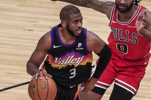 Phoenix Suns guard Chris Paul is out of the playoffs indefinitely due to the NBA's COVID-19 health and safety protocol. Photo by Tannen Maury/EPA-EFE
