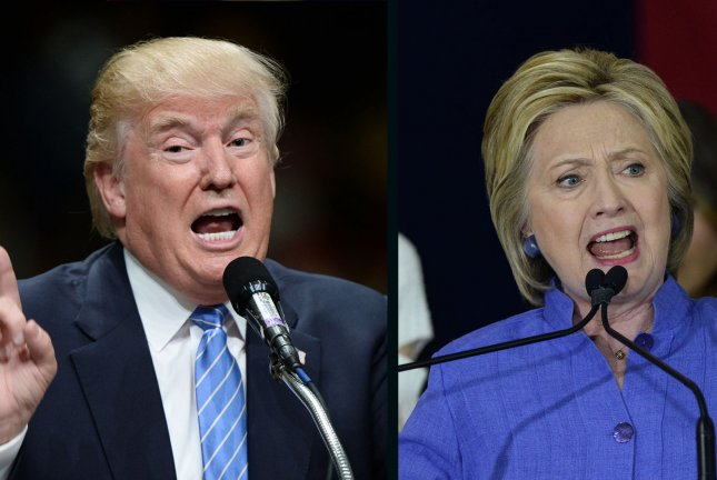Donald Trump and Hillary Clinton are in a virtual tie in the UPI/CVoter daily presidential tracking poll released Monday. UPI file photos
