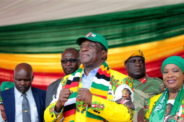 Zimbabwean President Emmerson Mnangagwa's re-election was upheld by the country's constitutional court, which said the opposition failed to prove its allegations of voter fraud. File Photo by Aaron Ufumeli/EPA-EFE