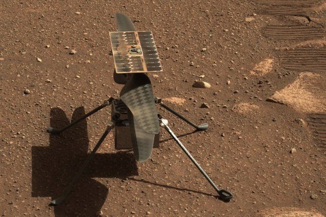 NASA's Mars helicopter Ingenuity is seen on the planet's surface on Monday, the 45th Martian day of the Perseverance rover mission. Photo courtesy of NASA