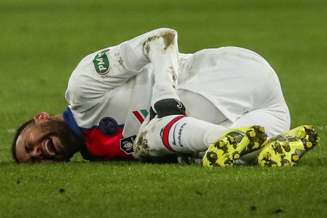 Neymar Jr. of Paris-Saint Germain injured his hip Feb. 10 and won't play in a Champions League match against Barcelona on Wednesday due to the injury. Photo by Christophe Petit Tesson/EPA-EFE