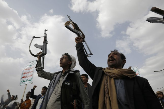 At least 30 soldiers were killed and 60 more were injured Sunday as Houthi rebels launched armed drones and ballistic missiles at a Saudi-led military base in Yemen.File Photo by Yahya Arhab/EPA-EFE
