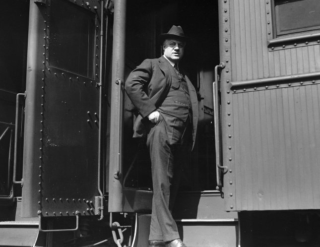 A. Mitchell Palmer, Attorney General of the United States, boarding a train on April 10, 1920. He is best known for overseeing the Palmer Raids during the Red Scare of 1919-20. File Photo by Library of Congress/UPI