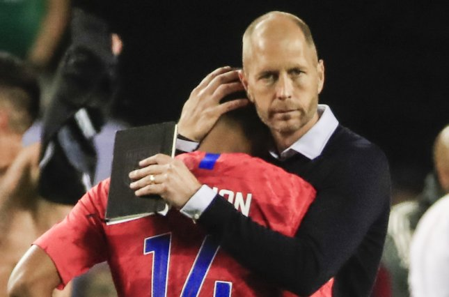United States men's soccer coach Gregg Berhalter (R) now has eight wins, three losses and a draw since taking over as manager in December. Photo by Tannen Maury/EPA-EFE