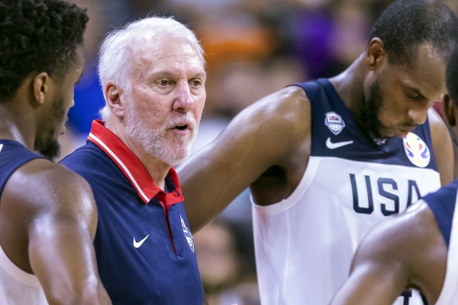 Coach Gregg Popovich and the U.S. Men's National Team are without several star basketball players, due to COVID-19 health and safety protocols, as they prepare for the postponed 2020 Summer Games in Tokyo. Photo by Alex Plavevski/EPA-EFE