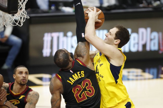 Cleveland Cavaliers forward LeBron James (L) defends against Indiana Pacers forward Bojan Bogdanovic of Croatia (R) during the second half of Game 2 of the Eastern Conference First Round Playoffs on April 18 at Quicken Loans Arena in Cleveland, Ohio. Photo by David Maxwell/EPA-EFE-Shutterstock