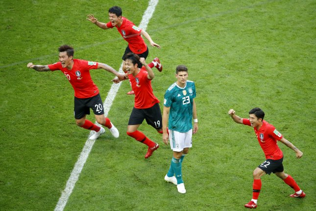 Players react during the 2018 FIFA World Cup Group F preliminary round soccer match between South Korea and Germany on Wednesday in Kazan, Russia. Photo by Diego Azubel/EPA-EFE