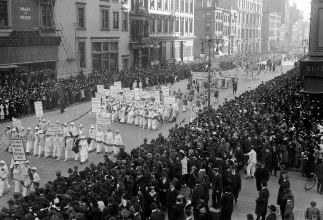 More than 25,000 women take to New York City's Fifth Avenue on Oct. 23, 1915, advocating for women's voting rights. File Photo by Library of Congress/UPI