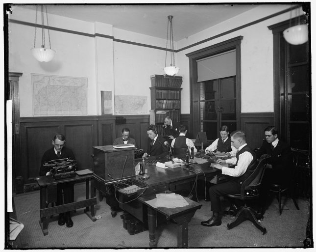 The interior of a United Press office at the Munsey Trust Building in Washington, D.C., circa 1909. File Photo by Harris and Ewing/UPI