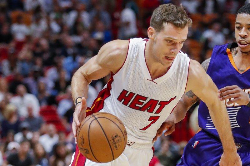 Miami Heat guard Goran Dragic drives in for the layup. File photo by Erik S. Lesser/EPA