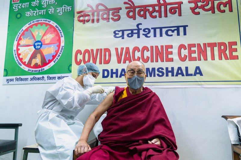 Tibetan spiritual leader the Dalai Lama receives a COVID-19 vaccine in Dharmsala, India, on Saturday. Photo courtesy of the Dalai Lama Office/EPA-EFE