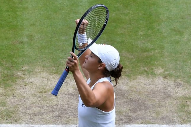 Ash Barty of Australia will attempt to win her second career Grand Slam on Saturday at Wimbledon 2021 in London. Photo by Facundo Arrizabalaga/EPA-EFE