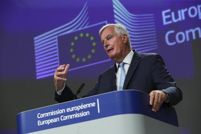European Union Brexit negotiator Michel Barnier speaks to reporters on Friday after a meeting with chief British negotiator David Frost, in Brussels, Belgium. Photo by Yves Herman/EPA-EFE/Pool